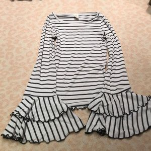 We the free striped bell sleeve top